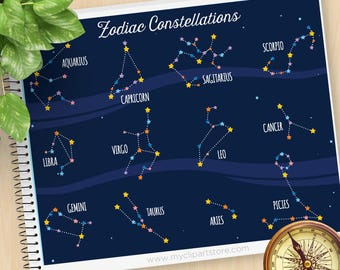 Zodiac Constellation Clipart, Horoscope, Astrology, Astronomy, Galaxy Clip Art, Zodiac, Commercial Use, Vector Clipart, SVG Cut Files