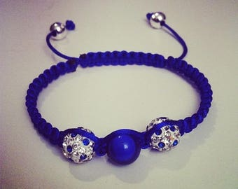 Shamballa bracelet adjustable blue and white #166