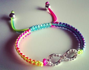 Shamballa bracelet adjustable multicolor neon sign rhinestone infinity