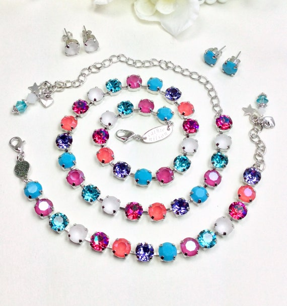 "Swarovski Crystal 8.5mm Necklace - Colorful "" Kaleidoscope "" Turquoise,Peony Pink, Lt. Coral, with White -Designer Inspired - FREE SHIPPING"
