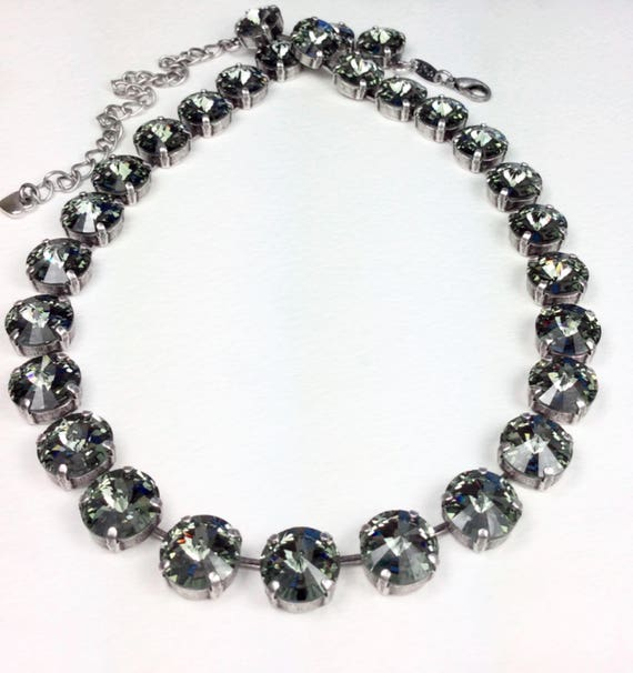 Swarovski Crystal 12MM Radiant Black Diamond Necklace - Designer Inspired  - Stunning & Classy - SALE - FREE SHIPPING