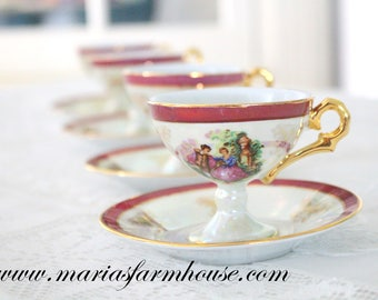 DEMITASSE Porcelain Cups and Saucers, Set of 4 by Yusui 24 Kt. Gold Plated, Courting Couple, Fragonard Inspired, Little Princess Tea Party
