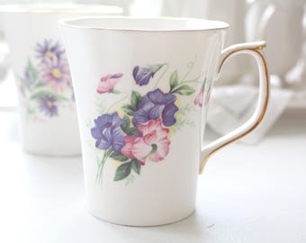 MUGS, Vintage English Bone China Tea or Coffee Mugs, Set of 2 by Duchess, Tea for Two, Replacement China, Gifts for Her