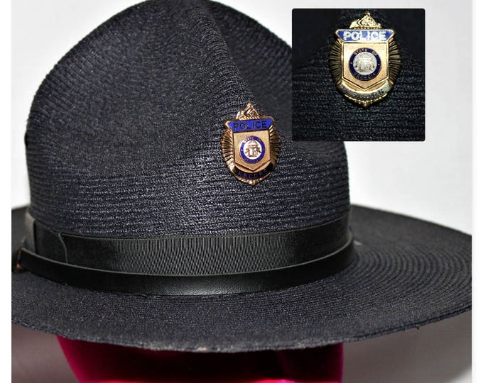 Vintage Georgia State Trooper Hat, Law Enforcement Uniform Hat, The Lawman Genuine Milan