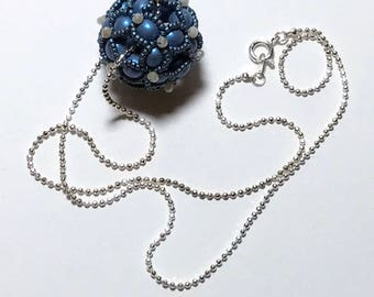 Beaded Ball Necklace Blue Ball Necklace Beaded Ball Pendant Blue Beaded Pendant Beadwork Pendant Beadwoven Pendant Beadwork Necklace