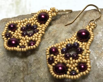 Wine Beaded Earrings Gold Beaded Earrings Wine Red Earrings Beadwork Earrings Wine Pearl Earrings Beadwoven Earrings Beaded Earrings
