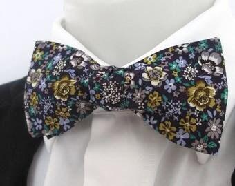 Floral men's bowtie ~ purple background floral design ~ wedding bowtie ~ floral bowtie