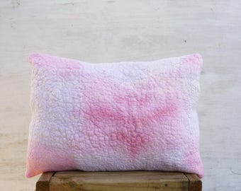 Shabby chic throw pillow cover, Farm house decor pillow, Pink nuno felt decorative sofa pillow, Christmas gift for girlfriend