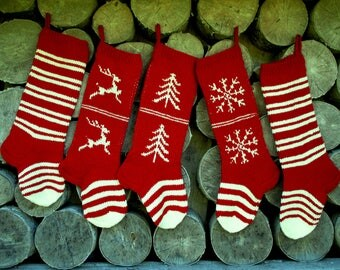 Christmas Stocking Personalized knit Wool Stripes Cranberry Red White with Tree Deer Snowflakes ornament