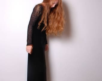 90s medium long sleeve black lace arms velvet maxi witch boho dress womens vintage clothing long skirt winter cocktail party