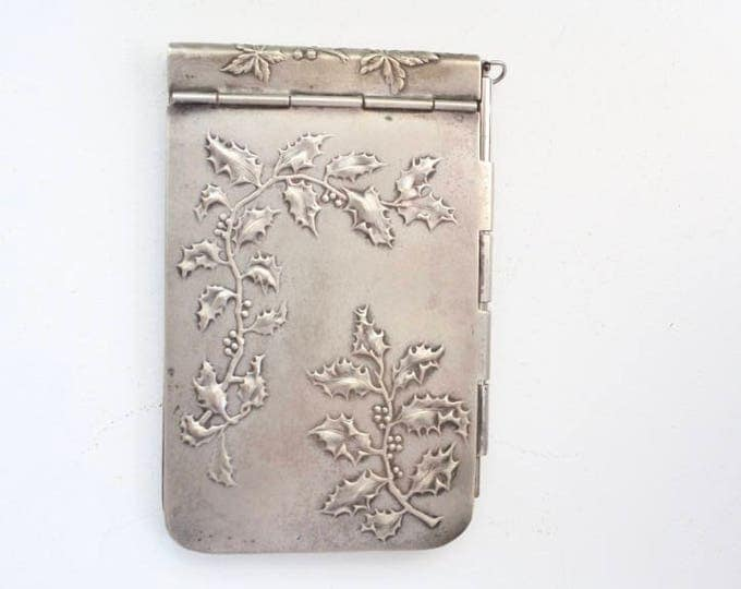 Featured listing image: French Antique Silver Notebook, Art Nouveau, c. 1890-1910's, silverplated, Chatelaine, dance card, carnet de bal, Christmas, note pad,