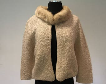 Boucle knit 1960's Sweater with Blonde Mink  Collar, Bracelet-Length Sleeves, Small to Medium