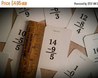 ON SALE 25% OFF 10 Vintage Flash Cards Miniature School Arithmetic Flash Cards Math Lot Ephemera Pack Subtraction