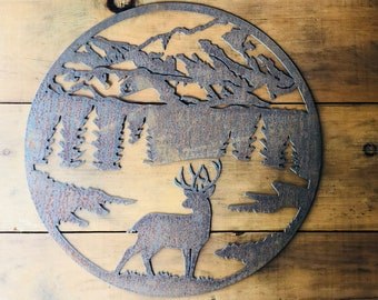 """Round Buck Mountain Scene - 18"""" Round Rusty Metal - For Art, Sign, Decor - Make your own DIY Gift!"""