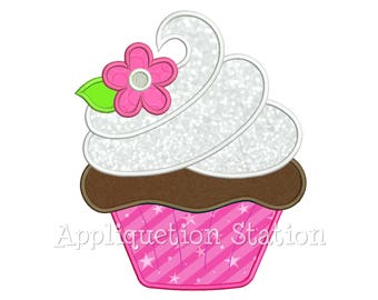 Cupcake with Flower Applique Machine Embroidery Design dessert cake frosting swirl birthday party INSTANT DOWNLOAD