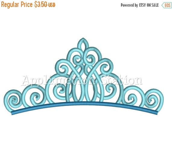 3 DAY SALE Fancy Tiara Crown Machine Embroidery Design Aqua Birthday Princess INSTANT Download