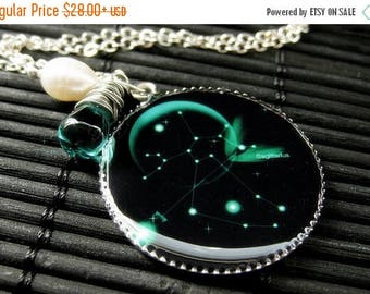 SUMMER SALE Sagittarius Necklace. Sun Sign Zodiac Jewelry with Teal Green Teardrop and Fresh Water Pearl. Handmade Jewelry.