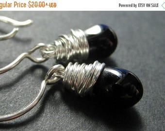 BACK to SCHOOL SALE Black Earrings. Wire Wrapped Black Teardrop Earrings in Silver. Handmade Jewelry.