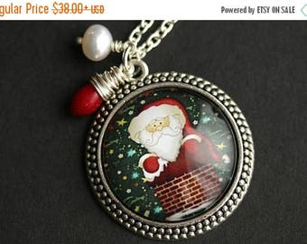 BACK to SCHOOL SALE Santa Necklace. Santa Claus Pendant. Christmas Necklace with Fresh Water Pearl and Red Coral Teardrop. Holiday Necklace.
