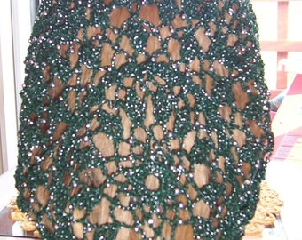 "Wheat Cluster Snood Pattern - Beaded Every Row in Metallic Combination thread-Long 10"" Length"