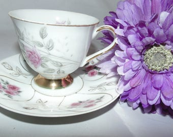 Vintage Pink Roses Japan Fine Bone China Tea Cup and Saucer Flowers Floral Gold Gilt