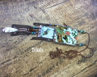 Tin Jewelry Boho 'Peacock' bib necklace- tin Jewelry . retro . upcycled metal . bird tin nature . tribal primitive . Tribalis . tribalism