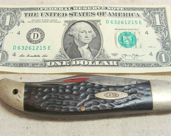 Large Vintage Case Two Blade Folding Pocket Knife 6265 SAB, Red Bone w/ 9 Dots