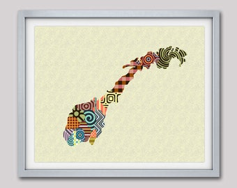 Norway Watercolor Map Norge Art Print - Norway map poster