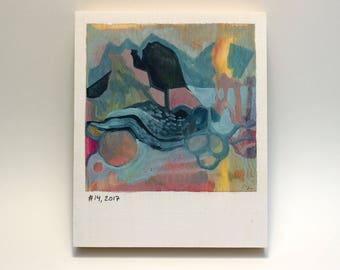 Polaroid #14 - tiny art - tiny painting - fine art series - landscape - calming art - small art gift - abstract art - blue whale - present