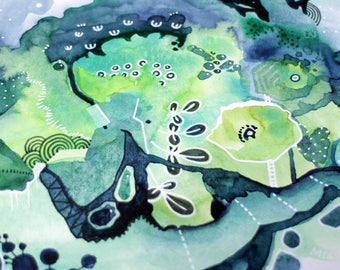 Nights in Geosmin - watercolor painting art drawing - garden art - flowers after rain - tiny drawing art gift - present for friend