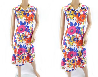 Vintage 1960s Sleeveless Splashy Floral Print Summer Dress - Size 16 UK Size 12US