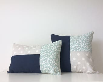 "12x18"" Patchwork Pillow Cover, Modern Decor, Navy Blue, Cream, Teal, Floral, Minimalist, Classic, Designer Fabric, Ikat Dots, Colour Block"