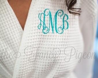 SPA PARTY ROBE - White Bridal Robes - Cotton Robes - Bridal Party Robe - Spa Robe - Cotton Waffle Robe - Honeymoon Lingerie - Kimono Robe