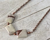 """Artistic Jasper Necklace / One-of-a-Kind / Rectangular Stones / Chunky / Gray and Burgundy / Antique Copper - 22"""" long"""