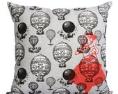 SALE // Alice in Wonderland Cushion Cover – childrens throw pillow black and white vintage blimps whimsical alice print fluro pink