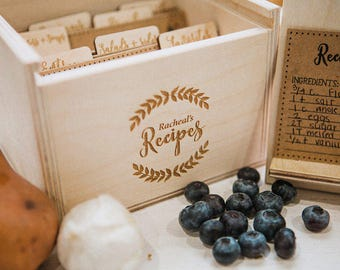 5x7 - Wood Recipe Box with recipe stand also includes engraved wood recipe card dividers