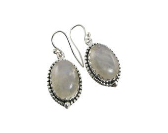 Rainbow Moonstone Sterling Silver Oval Earrings