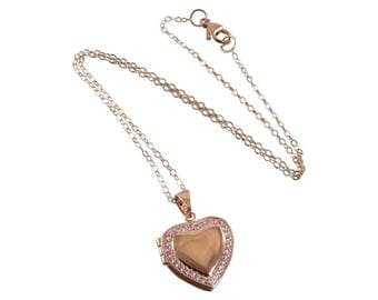 Rose Gold Heart Photo Locket Necklace, Valentine Day Necklace, Rose Gold Necklace, Heart Necklace, Picture Necklace