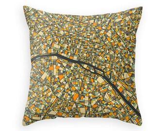 PARIS MAP, Throw pillow for your home decor (dark version)