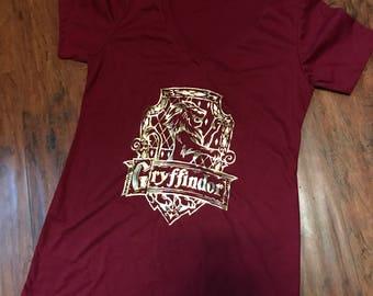 Gryffindor Crest V-Neck   Houses   Harry Potter Shirt   Crests   Godric Gryffindor   Gryffindor Lion   Wizarding World