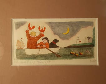LOBSTERS TONIGHT, is an original hand colored etching by Parks Beach