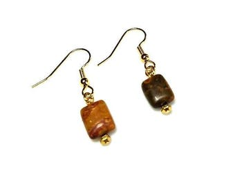 Caramel Brown Jasper Gemstone Gold Dangle Earrings Natural Stone Drop Earrings Hypoallergenic Nickel Free Earrings Earthy Beaded Jewelry