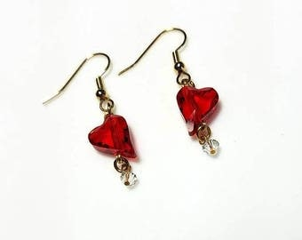 red clear Swarovski crystal heart gold earrings hypoallergenic earrings nickel free earrings beaded earrings sweetheart Valentine's Day