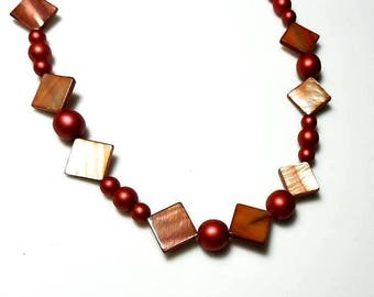matte metallic red Czech glass bead necklace copper mother of pearl necklace statement necklace shell beaded jewelry necklaces for women