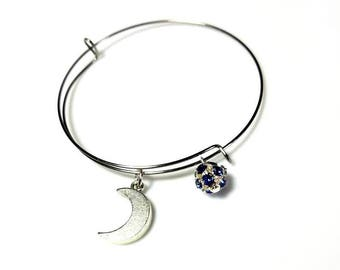 Expandable Silver Bangle Bracelet with Crescent Moon Charm and Sapphire Blue Crystal Drop Adjustable Bangle for Women Men Celestial Jewelry