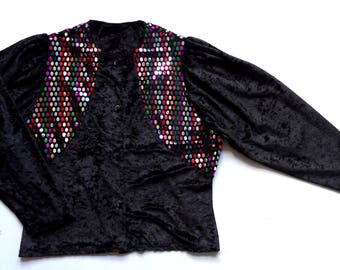 Women's Vintage 80's Velvet Top / Blouse Top UK 16