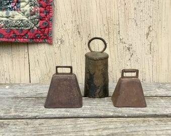 3 Cowbells - Vintage Rustic Bells, Primitive Oxen, Sheep, Farm Animal