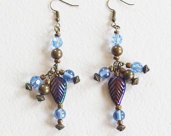 Boucles d'Oreilles Vintage Baroque - Harmonie Bleu et Bronze - Perles Shamballa, Verre, Perles tibétaines - Bijou créateur, en pièce unique