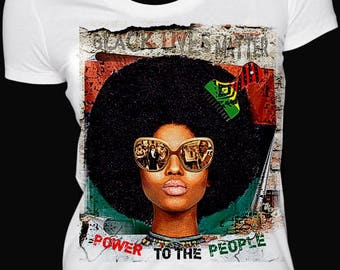 Power To The People T-shirt. Black History Ladies T-shirt