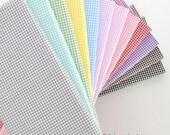 "Plaid Cotton Fabric, White Brown Green Pink Blue Aqua Plaid Check Cotton - 1/2 Yard 63""x18"""